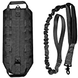 LIVABIT [ Black ] Canine Service Dog Tactical Molle Vest Harness + Matching Heavy Duty Bungee Leash Strap X-Small [ Also For Cats & Puppies ]