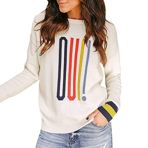 iFOMO Women Long Sleeve O-Neck Letter Print Sweater Striped Knit Pullover Oversized Blouse Knitted Jumper (White,M)