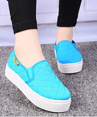Sneakers Fashion Femme Talon Bleu Petit Baskets Aisun Semelle Epaisse wY6n6U