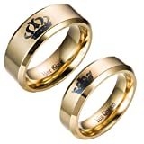 Moneekar Jewels 2pcs Her King / His Queen Titanium Stainless Steel 14K Gold Plated Promise Wedding Band Ring Set Anniversary Engagement Couple Rings for Lovers