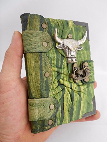 Handmade mini leather notebook leather writing journal,sketchbook,diary,notebook bull head pendant leather journal,leather notebook,steampunk,journals with lock