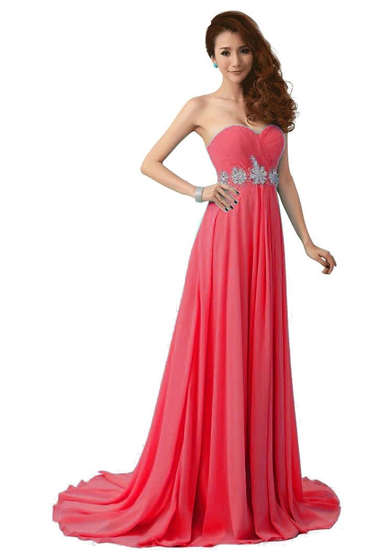 Beauty-Emily Frau Polyester langen Abend prom Kleider,Wassermelone,Größe 34