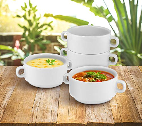 KOVOT Set of 4 Porcelain Stackable 20-Ounce Bowls (4 Bowls) (Handle Soup Mugs With 20 Oz)