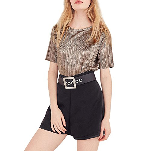 Shiny Brown Stripe (Novia's Choice Women Shiny Metallic Loose Casual Tank Top Shirt Brown Stripe Short-Sleeve T-Shirt(XL))