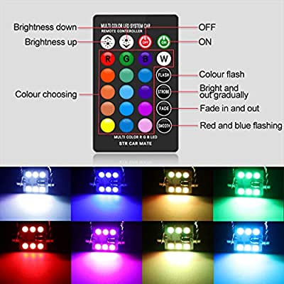 578 LED Bulbs 42mm 1.65 Inches LED Festoon 211-2 212-2 560 Bulb, 16 Colors Change RGB with Remote Control, Replacement for Dome Map Door Courtesy Trunk License Plate Lights Lamps: Automotive