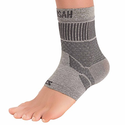 Zensah Ankle Support – Compression Ankle Brace – Great for Running, Soccer, Volleyball, Sports – Ankle Sleeve Helps Sprains, Tendonitis, Pain, Heather Grey, Large