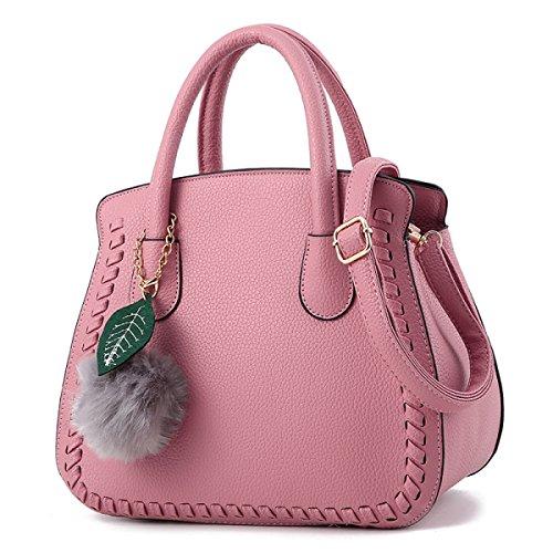WU ZHI Bolso De Mensajero De Las Señoras Bolsa De Gran Capacidad PU Suave Bolso De Hombro De Cuero Pink
