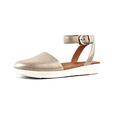 599065b053ac FitFlop Women s Cova Closed Toe Sandals Metallic Silver 5 ...