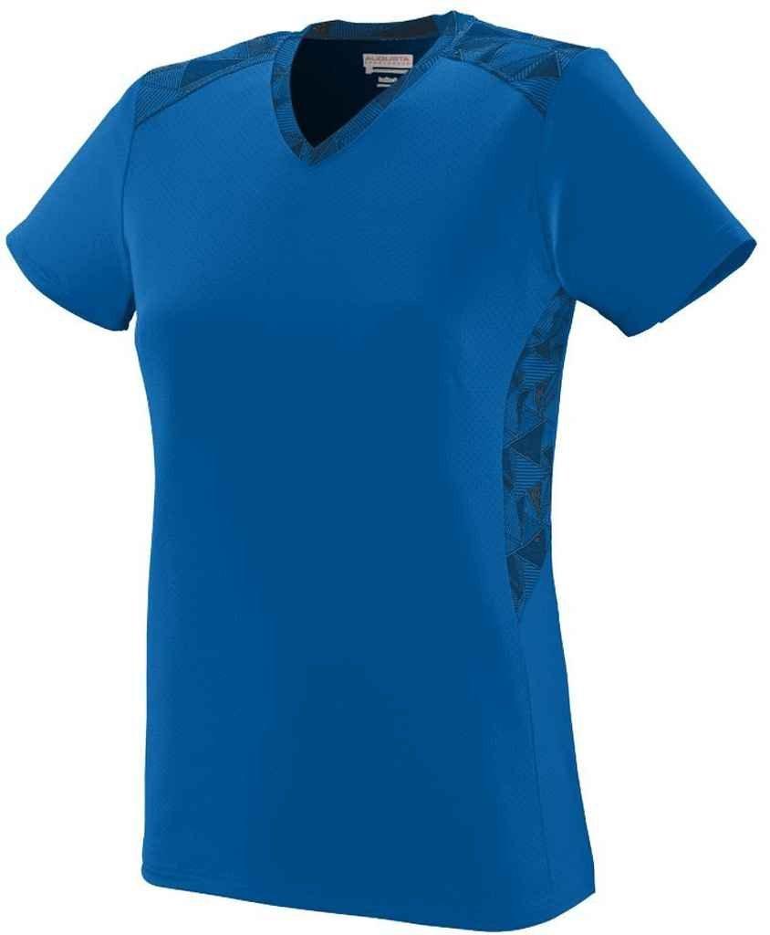 Augusta Sportswear Girls ' Vigorous Jersey B00QGR4A8O Large|Royal/Royal/Black Print Royal/Royal/Black Print Large