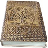 Handmade Tree of Life Embossed Leather Journal Leather Notebook Diary 7x5 Blank Pages Tanned Color