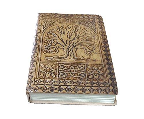Fatto a mano albero della vita in pelle goffrata diario del diario notebook 7/x 5/con pagine bianche colore conciata
