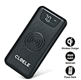 8000 mah charger - Wireless Portable Charger Cloele Qi Wireless Charger Pad With 8000Mah Led External Battery Packs 2 in 1 With Dual Fast Charging Port For iPhone X Galaxy Note 8 S8 S9 And More (8000Mah)