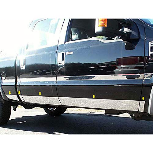 Brighter Design 10p Chrome Accent Door Molding Trim fit for 08-10 Ford Super Duty SB ()