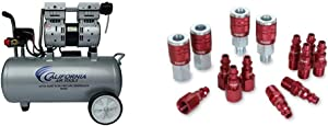 California Air Tools 8010A Ultra Quiet & Oil-Free Lightweight Air Compressor & ColorConnex Coupler & Plug Kit (14 Piece), Industrial Type D, 1/4 in. NPT, Red - A73458D