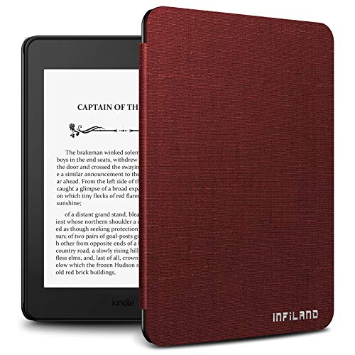 Infiland Kindle Paperwhite 2018 Case Compatible with Amazon Kindle Paperwhite 10th Generation 6 inches 2018 Release(Auto Wake/Sleep), Wine Red (Kindle Cover Sleep)