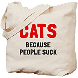 CafePress - Cats Because People Suck - Natural Canvas Tote Bag, Cloth Shopping Bag