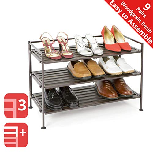 Seville Classics 3-Tier Stackable 9-Pair Woodgrain Resin Slat Shelf Sturdy Metal Frame Shoe Storage Rack Organizer, Perfect for Bedroom, Closet, Entryway, Dorm Room, Espresso, 1-Pack,