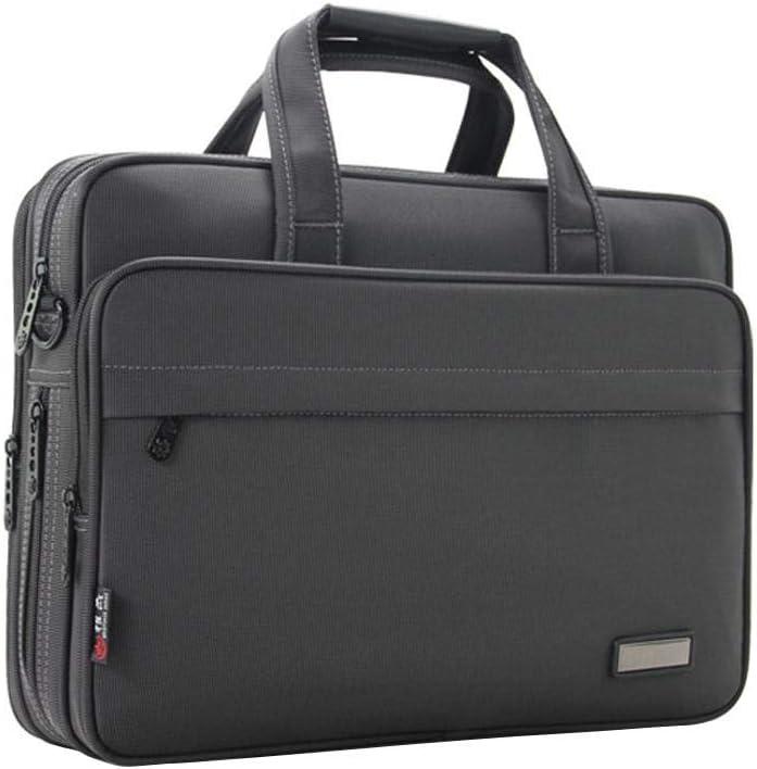 Juman - Maletín portadocumentos (tela Oxford, acabado de igorosis, gran capacidad, varios bolsillos, color gris oscuro, para el trabajo, viajes de negocios, reuniones)