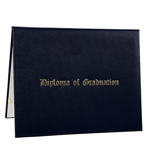Diploma Cover - Certificate Holder with Diploma of Graduation Gold Foil Imprint, Document Cover for Letter-Sized Award Certificate, 4 Corner Ribbons, Black Faux Leather, 11.5 x 9 Inches