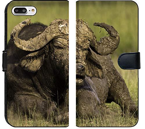 Liili Premium iPhone 7 Plus Flip Micro Fabric Wallet Case African Cape Buffalo Photo 20215705 ()