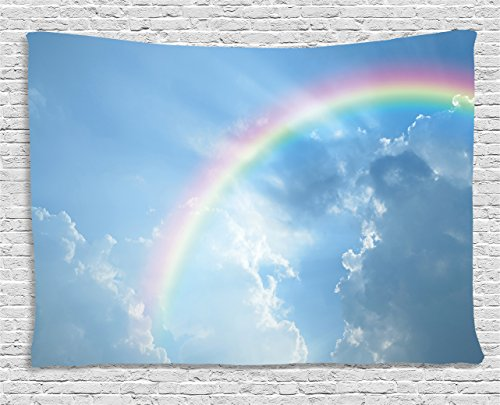 (Ambesonne Rainbow Tapestry, Realistic Image of Clear Sky Clouds and Rainbow Daytime Heavenly Calming Tranquility, Wall Hanging for Bedroom Living Room Dorm, 60 W X 40 L inches, Sky Blue )