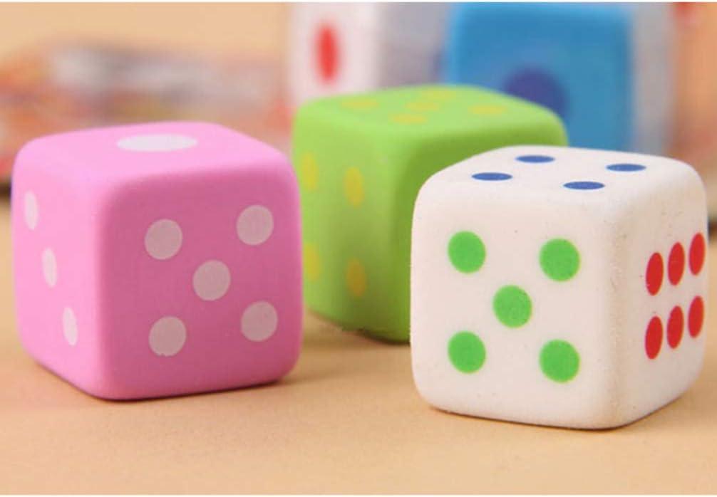 24 piezas borrador de forma de dados borrador de papeler/ía para ni/ños estudiantes color aleatorio Toyvian gomas de borrar