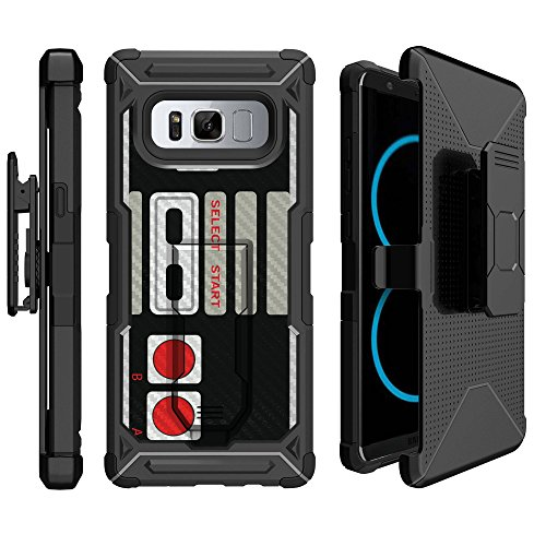 MINITURTLE Case Compatible w/Galaxy Note 8 Rugged Protection Case [UFO Defense] Note 8 Case w/Carbon Fiber Texture Hard Shell Case [BuiltIn Stand][Bonus Belt Clip Included] Arcade Game