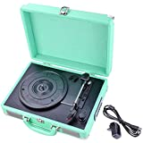 AW Record Player Classic Portable Suitcase 3-Speed Stereo Turntable Built-in Speaker MP3 Bluetooth USB SD Outdoor