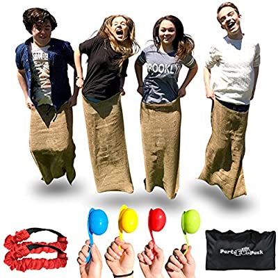 Elite Birthday Party Kids Outdoor Games - 3 Fun Family Games in 1 - the Potato Sack Race, the 3 Legged Relay Race and the Egg and Spoon Race, Store's away in its own Compact Bag, Fun Game For Families