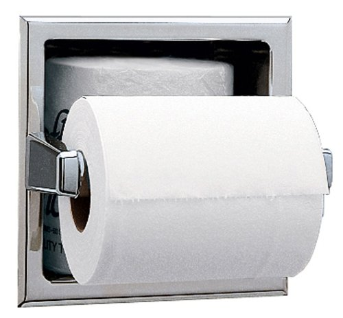 Bobrick 6637 Stainless Steel Recessed Toilet Tissue Dispenser with Extra Roll Storage Space, Satin Finish, 6-1/4