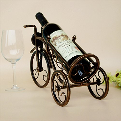 Ussuperstar Vintage Bronze-colored Tricycle Wine Bottle Rack Holder Home Kitchen Living Dining Room Decor 41cm15cm25cm (Wine Rack For Dining Room)