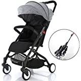 Airplane Lightweight Compact Travel Stroller - One Hand Fold,Umbrella Stroller,Full Recline up 170, Pull Handle, Includes Rain Cover, Cup Holder, Baby Infant Toddler up to 4 Years (Grey/Black)