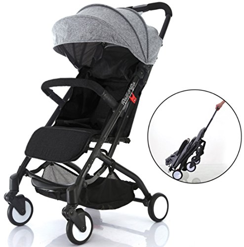 Airplane Lightweight Compact Travel Stroller – One Hand Fold,Umbrella Stroller,Full Recline up 170, Pull Handle, Includes Rain Cover, Cup Holder, Baby Infant Toddler up to 4 Years (Grey/Black)
