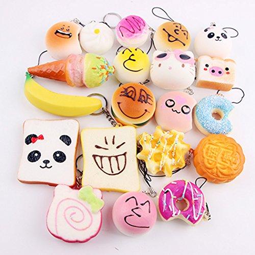 10Pcs Kawaii Mini Soft Foods Bread, doughnuts, bread, etc, Phone Key chain Strap Kids Toy Gift