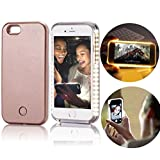 Apple iphone 5 5s SE Case,Vandot Luxury LED Illuminated Selfie Cell Phone Case Bright Light Up Luminous Dimmable PC Hard Back Cover Scratch-resistant Shock Absorbent Protective Skin Shell-Rose Gold