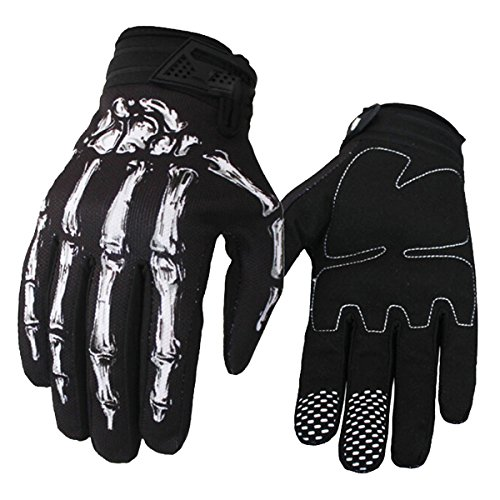 Evaliana Skull Bone Skeleton Motocross Motocycle Motobike Cycling Riding Gloves - Skull Gloves