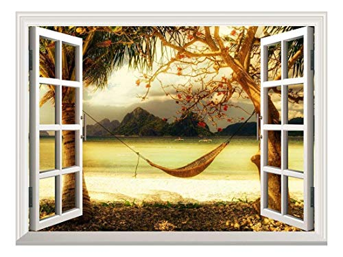 Removable Wall Sticker/Wall Mural - Beautiful Tropical View with a Hammock | Creative Window View Wall Decor - 36