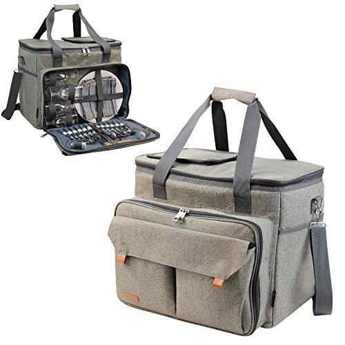 Picnic Basket Tote Picnic Shoulder Bag Set Stylish All-in-One Portable Picnic Bag for 4 with Complete Cutlery Set Salt Pepper Shakers Cheese Board Cooler Bag for Camping Insulated Tote Bag