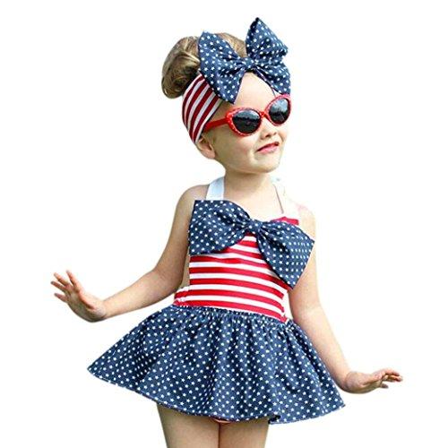 oddler Kids Baby Girl Star and Stripe Romper Dress Headband Clothes (12M, Blue) (Halter Hat)