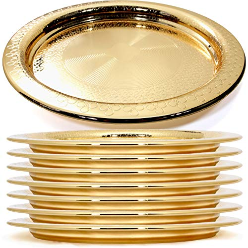 Maro Megastore (Pack of 8) 11-Inch Vintage Round Iron Gold Plated Serving Tray Floral Engraved Decorative Wedding Birthday Dessert Cake Snack Wine Candle Serving Platter Plate Party 2003 M Ts-134