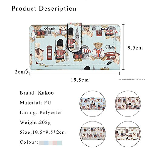 Button Long Women's Clutch Bag Holder Leather Wallet Card Credit Kukoo Pink Bear Fashion Purse HCxXfq