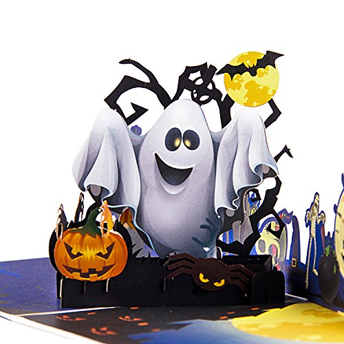 Cute Halloween Greetings (Jerry & Maggie - Pop Up Greeting Card - Halloween Ghost Night Pumpkin Bat Costume Card 3D Paper Greeting Thank You Card Handmade Cute Halloween Party Birthday Thanksgiving For Kids men women)