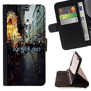 King Case - FOR Sony Xperia M2 - don't ever forget me - Prima caja de la PU billetera de cuero con ranuras para tarjetas, efectivo Compartimiento desmontable y correa para la mu?eca