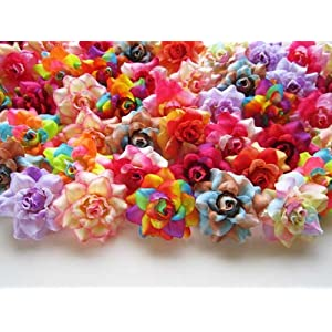 "(100) Assorted Silk Roses Flower Head - 1.75"" - Artificial Flowers Heads Fabric Floral Supplies Wholesale Lot for Wedding Flowers Accessories Make Bridal Hair Clips Headbands Dress 1"