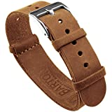 Barton Leather NATO Style Watch Straps - Choose Color, Length & Width - Gingerbread Brown 20mm Standard Band