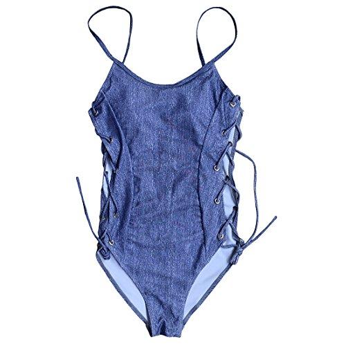 MOOSKINI Women's One Piece Bikini Denim Look Halter Swimsuit (M, Dark Blue)