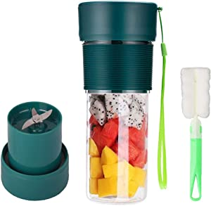 Portable Blender with Cup Brush Personal Size Blender Juicer Safety USB Rechargeable for Home, Sports, Office, Outdoors,Travel Juicer Mixer Cup for Juice, Shakes and Smoothies (Green)