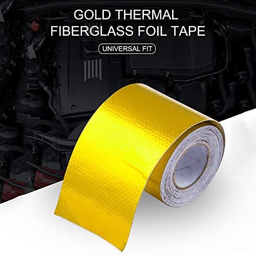 SODIAL Refleter Un Or Ruban Thermique Isolation Thermique dadmission dair Enveloppe de Bouclier reflechissante Moteur Auto-adhesif a Barriere de Chaleur