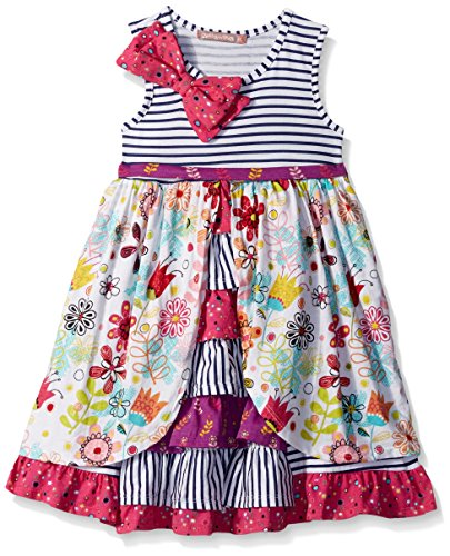 Jelly the Pug Girls' Little Tulip Floral Hannah Dress, Multi, 2T