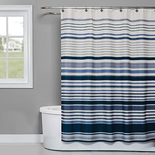 SKL Home by Saturday Knight Ltd. Cubes Stripe Fabric Shower Curtain, Blue (Curtain Shower With Stripes)